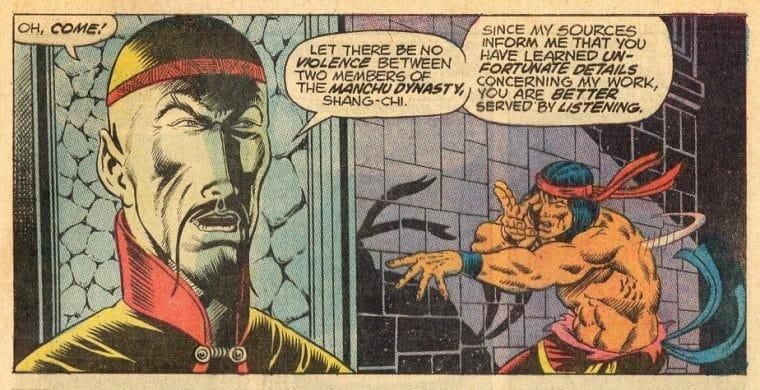 Trecho da HQ Special Marvel Edition #15 com Shang-Chi e Fu Manchu (Divulgação)