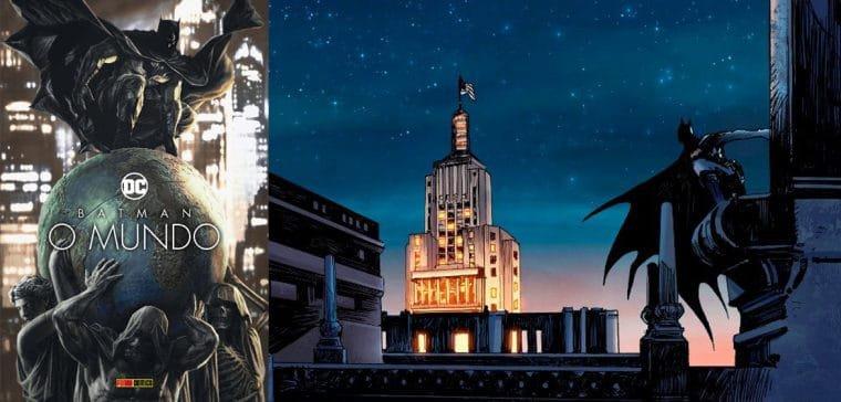 Capa e cena da HQ Batman: O Mundo (Reprodução/Fabi Marques/Twitter)