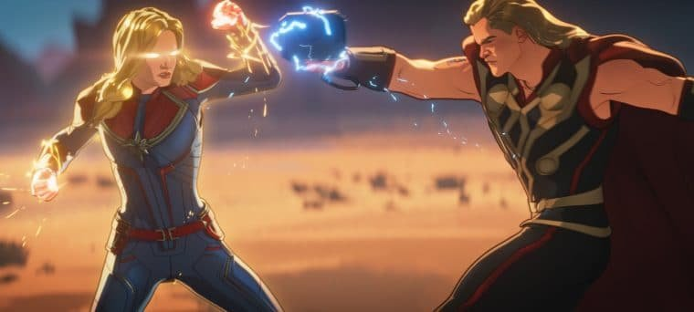Capitã Marvel e Thor no sétimo episódio de What If...? (Divulgação)