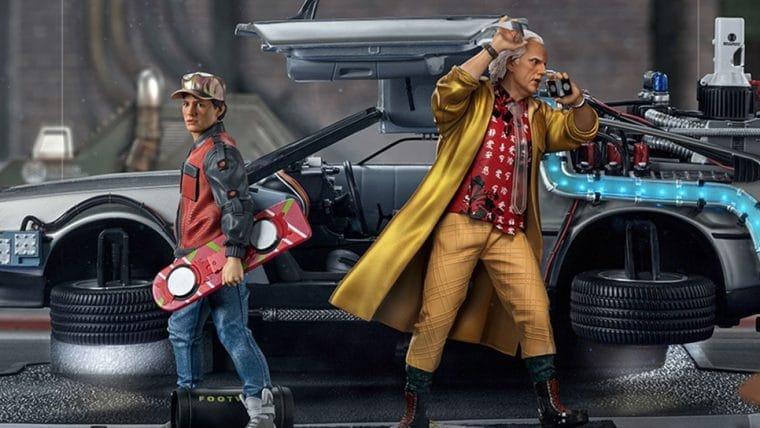 Marty McFly e Doc Brown chegam de DeLorean em novas estátuas da Iron Studios