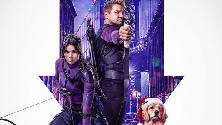 Série do Gavião Arqueiro ganha cartaz natalino com o cachorro Lucky
