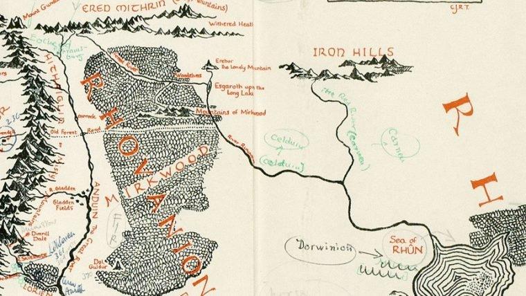 Mapa da Terra Média com anotações de Tolkien está a venda por 60 mil libras