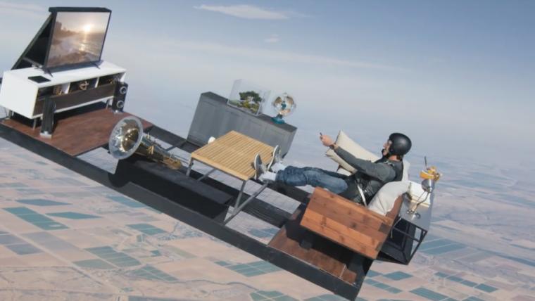 Paraquedista joga Street Fighter em queda livre para comercial